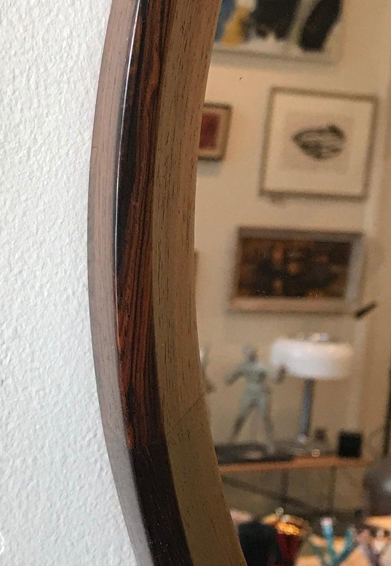 Scandinavian Modern Round Danish Rosewood Mirror by Hans Gustav Ehrenreich For Sale