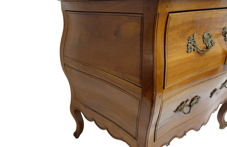 18th Century Rococo Bombe Two-Drawer Chest Commode French For Sale