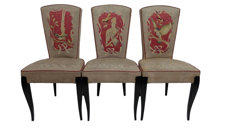 Lacquered Set of Six French Art Deco Dining Chairs with Bird Scene Tapestry Upholstery For Sale