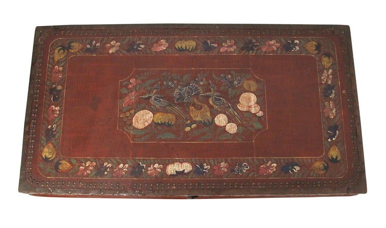 19th Century Chinese Export Hand-Painted Red Leather Trunk In Good Condition For Sale In San Francisco, CA