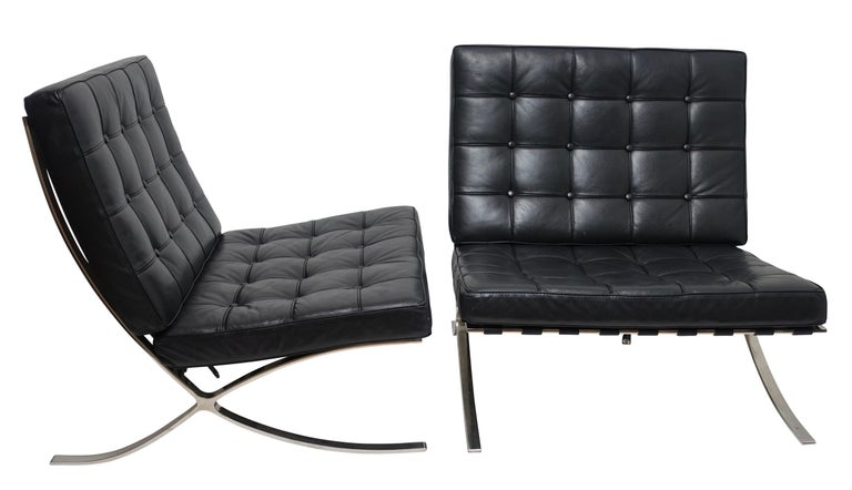 American Pair of Knoll Barcelona Style Black Leather Chairs, Mies van der Rohe For Sale