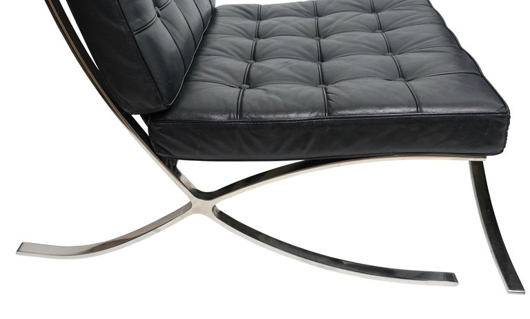 Stainless Steel Pair of Knoll Barcelona Style Black Leather Chairs, Mies van der Rohe For Sale