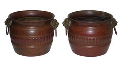 Vintage Copper Cachepots with Red Patinated Finish, Italian circa 1930's