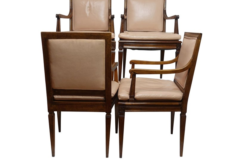Polished Set of Four Neoclassical Style Armchairs, Italian, Late 19th-Early 20th Century For Sale