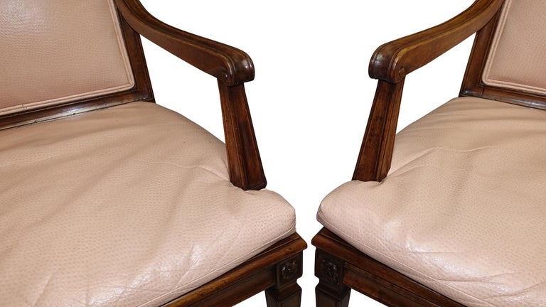 Beech Set of Four Neoclassical Style Armchairs, Italian, Late 19th-Early 20th Century For Sale