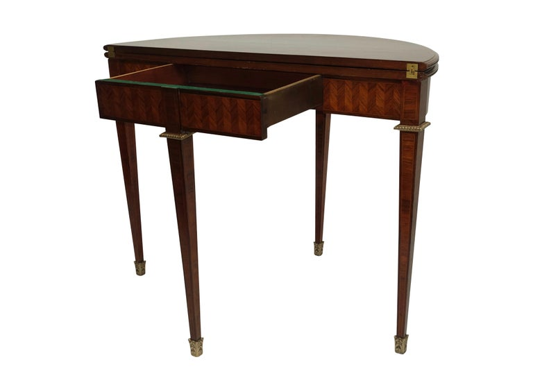 French Parquetry Rosewood and Kingwood Demilune Game Table For Sale 3