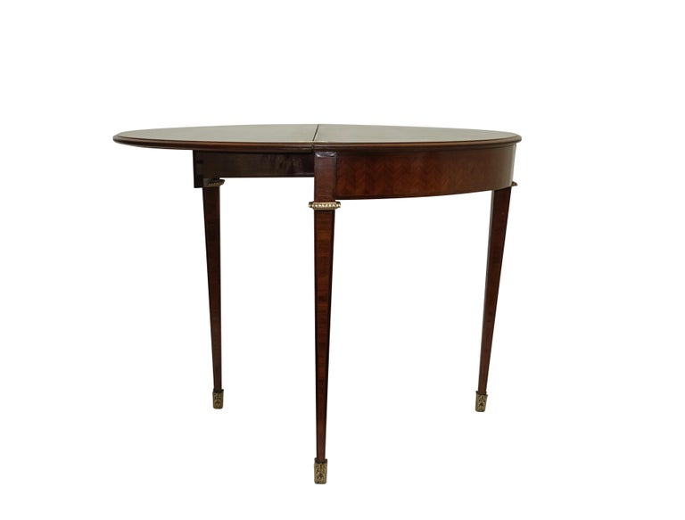 French Parquetry Rosewood and Kingwood Demilune Game Table For Sale 1