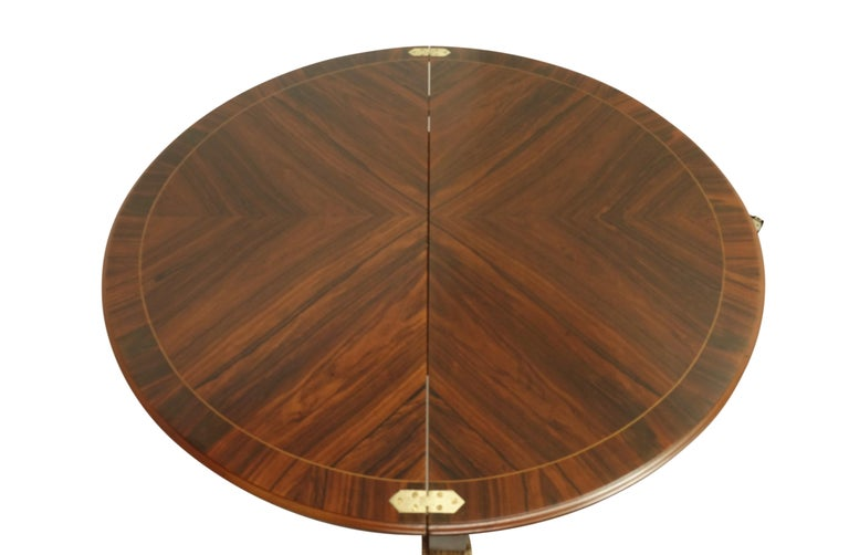 French Parquetry Rosewood and Kingwood Demilune Game Table For Sale 4