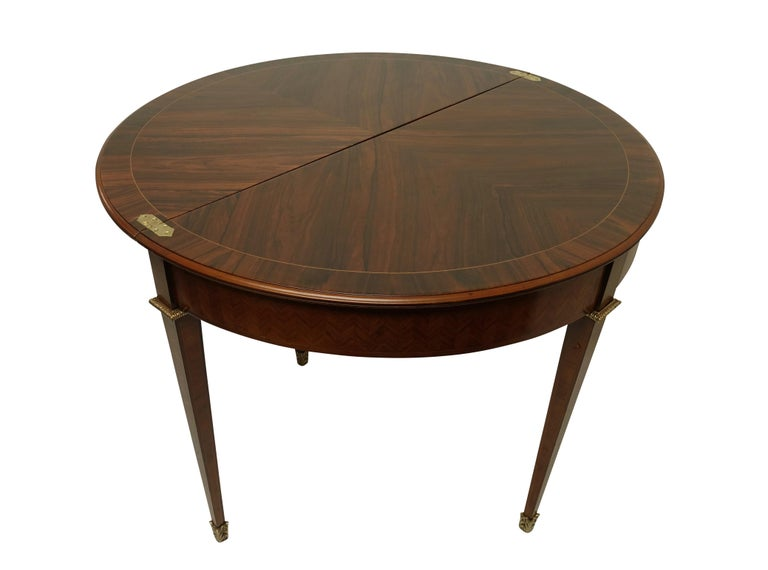 Inlay French Parquetry Rosewood and Kingwood Demilune Game Table For Sale