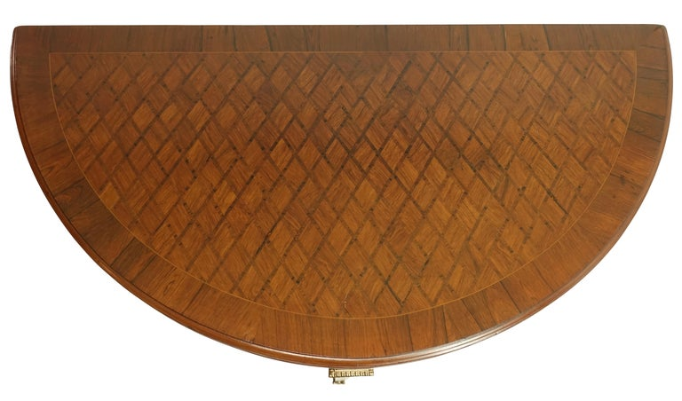 20th Century French Parquetry Rosewood and Kingwood Demilune Game Table For Sale