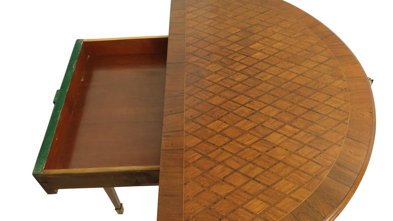 Brass French Parquetry Rosewood and Kingwood Demilune Game Table For Sale