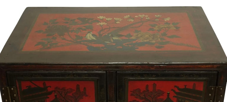 19th Century Pair of Chinese Lacquer Robe Cabinets, Qing Dynasty, circa 1840 For Sale