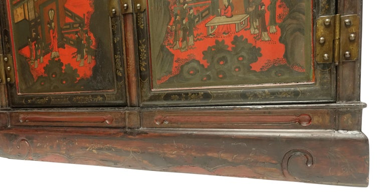 Brass Pair of Chinese Lacquer Robe Cabinets, Qing Dynasty, circa 1840 For Sale
