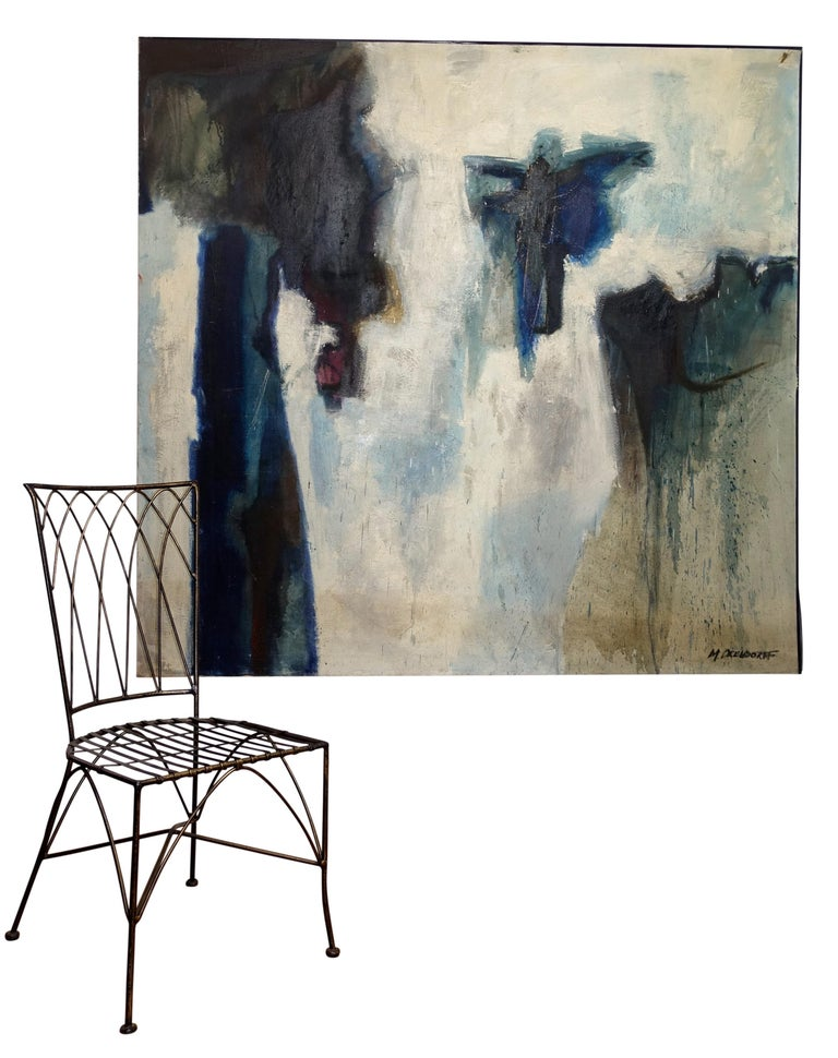 Mid-Century Modern Large Midcentury Abstract Expressionism Painting, California Bay Area Artist For Sale