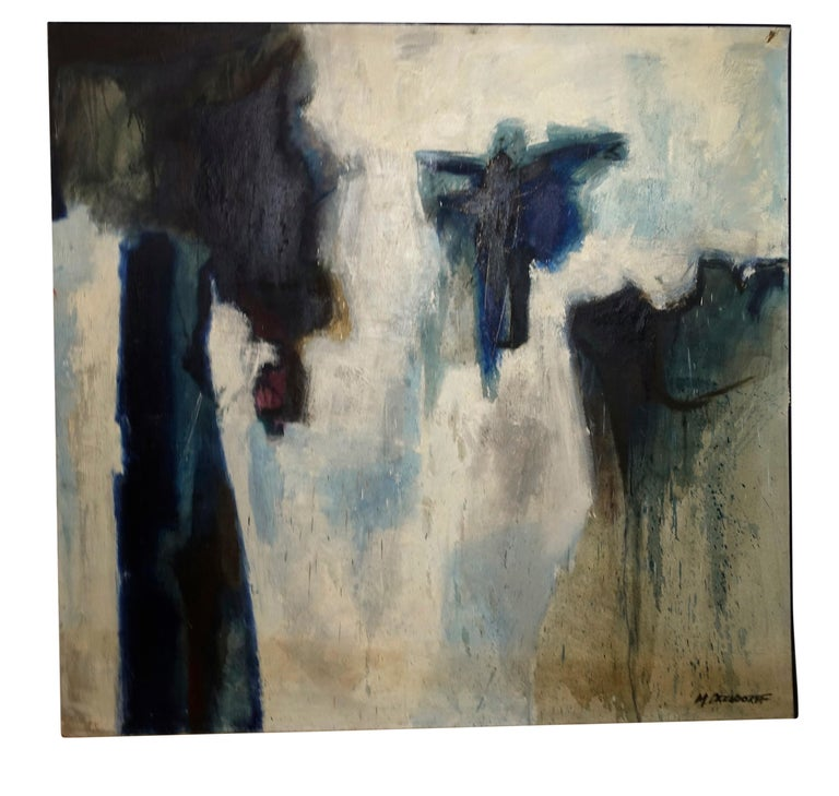 Large Midcentury Abstract Expressionism Painting, California Bay Area Artist In Good Condition For Sale In San Francisco, CA