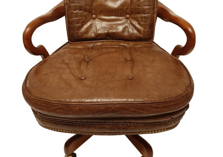 Executive Desk Chair with Alligator Embossed Leather In Good Condition For Sale In San Francisco, CA
