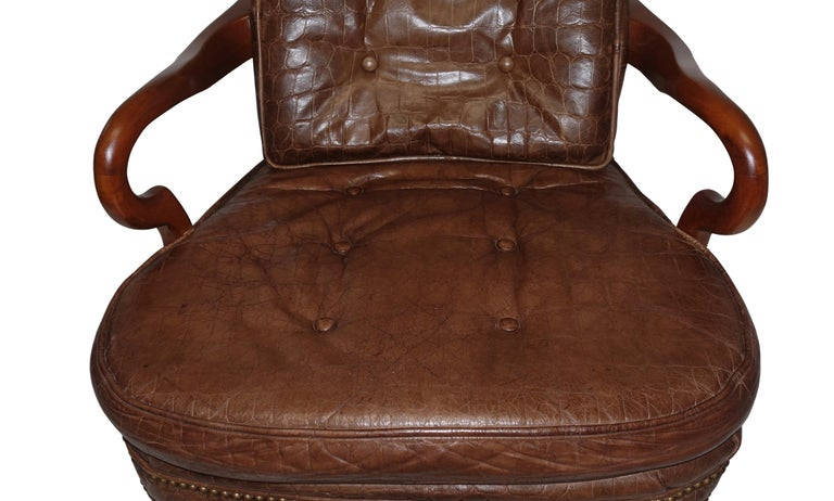 20th Century Executive Desk Chair with Alligator Embossed Leather For Sale