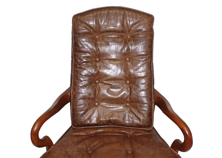 American Executive Desk Chair with Alligator Embossed Leather For Sale