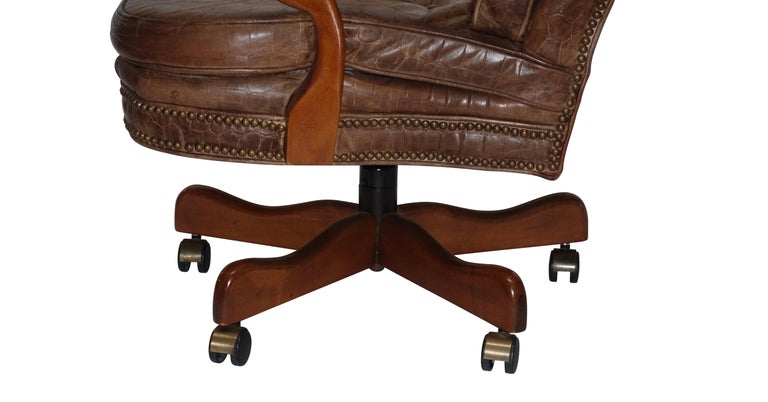 Executive Desk Chair with Alligator Embossed Leather For Sale 1