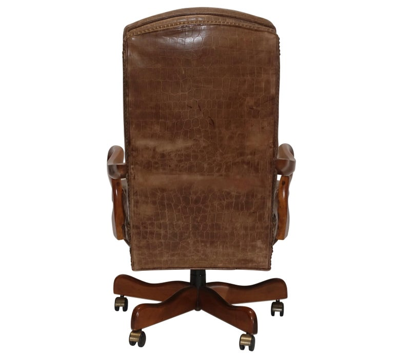 Executive Desk Chair with Alligator Embossed Leather For Sale 3