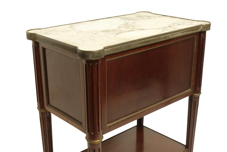 Brass Louis XVI Style Mahogany Side Table Cabinet, French, 1940s For Sale