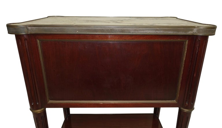 Louis XVI Style Mahogany Side Table Cabinet, French, 1940s For Sale 1