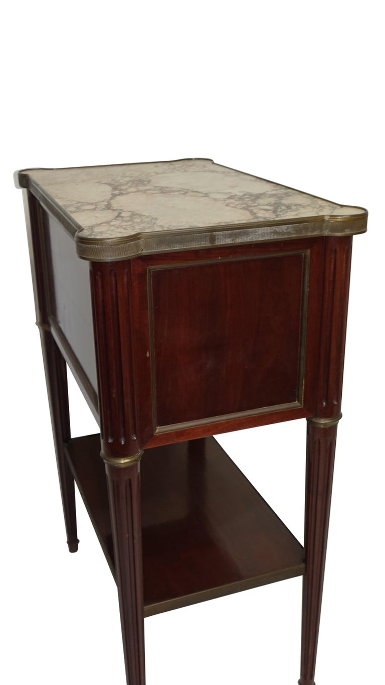 Louis XVI Style Mahogany Side Table Cabinet, French, 1940s For Sale 2