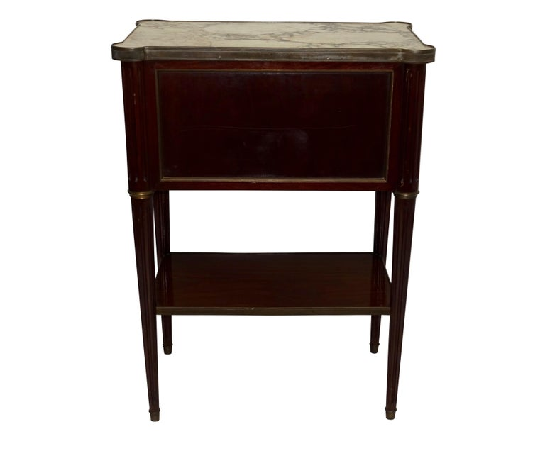 Louis XVI Style Mahogany Side Table Cabinet, French, 1940s For Sale 4