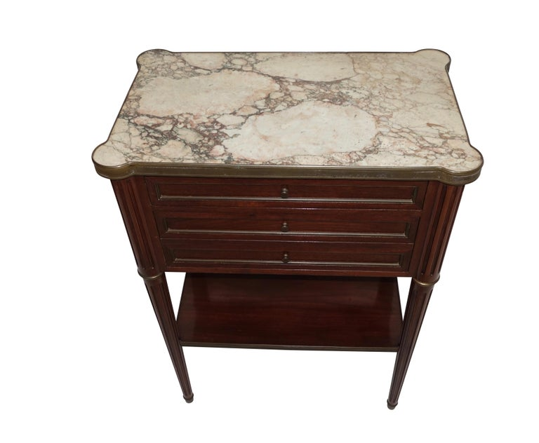 Polished Louis XVI Style Mahogany Side Table Cabinet, French, 1940s For Sale