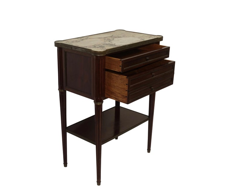 Mid-20th Century Louis XVI Style Mahogany Side Table Cabinet, French, 1940s For Sale