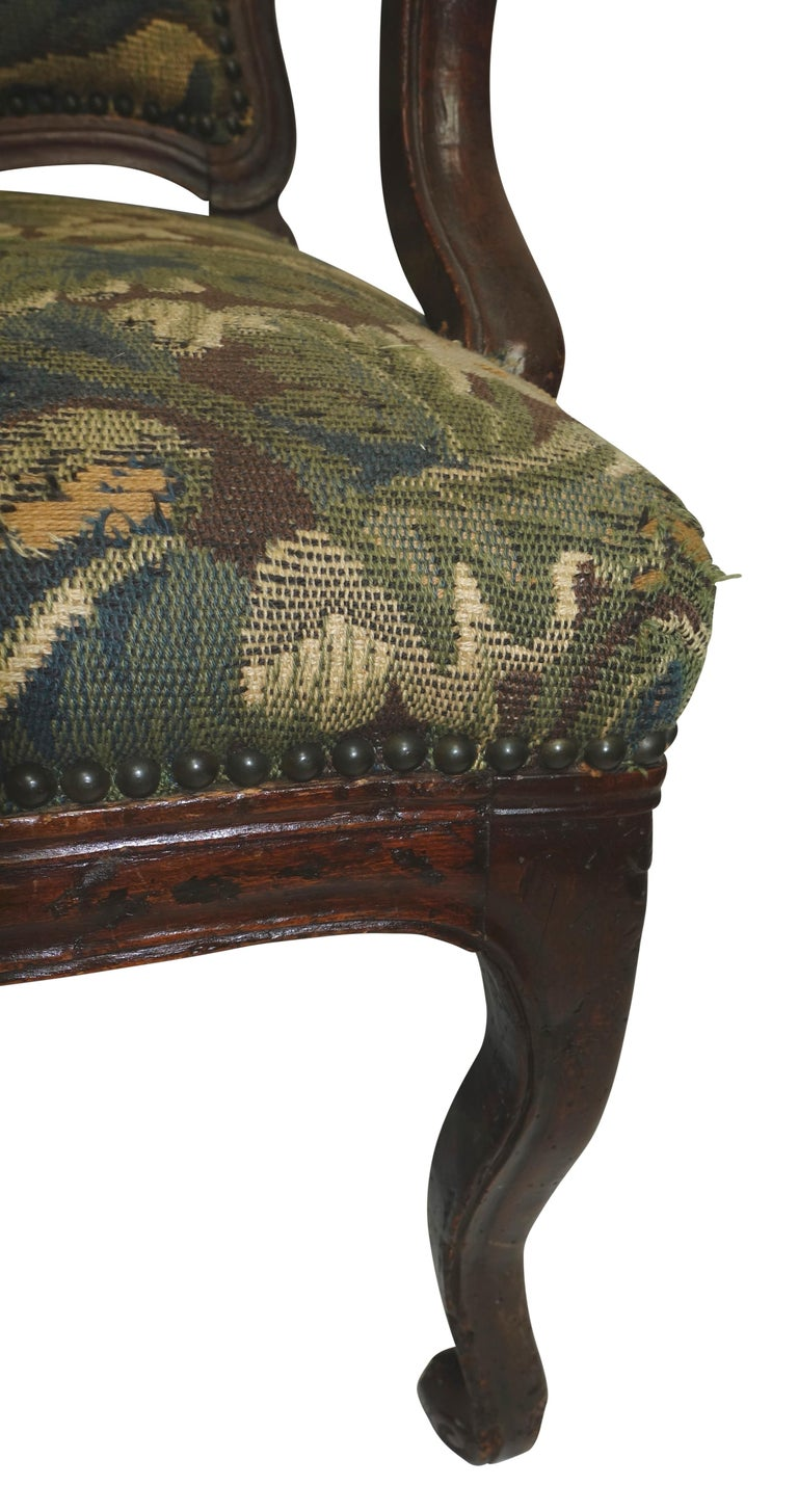 18th Century and Earlier Walnut Fauteuil Armchair, Italian, 18th Century For Sale