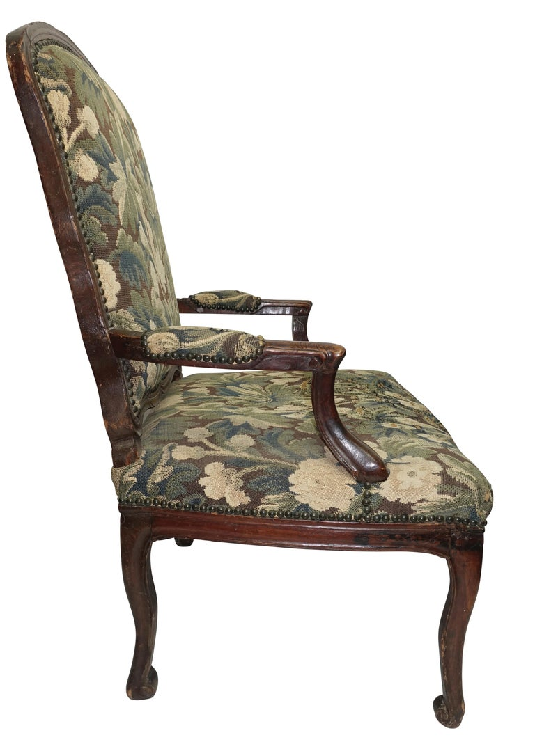 Carved Walnut Fauteuil Armchair, Italian, 18th Century For Sale
