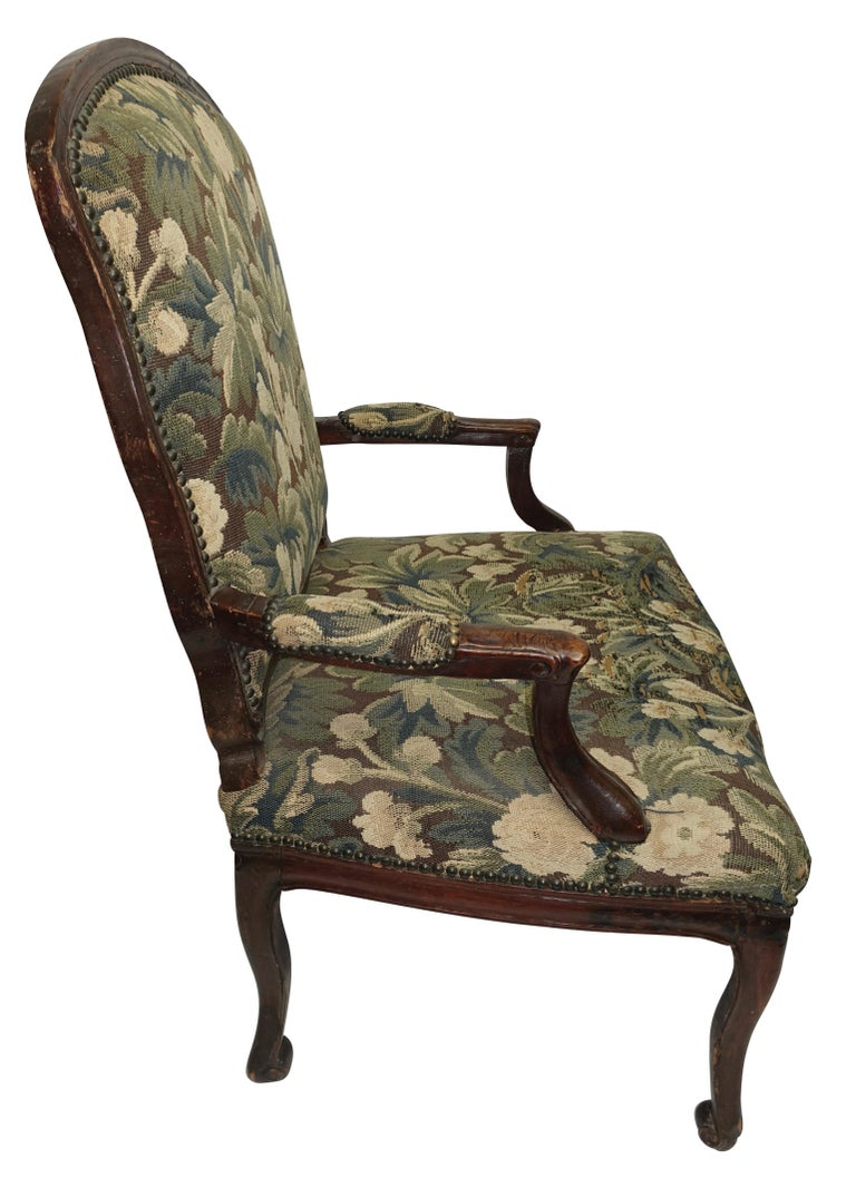 Upholstery Walnut Fauteuil Armchair, Italian, 18th Century For Sale
