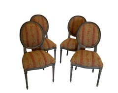 Set of Four French Louis XVI Style Side Dining Chairs