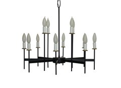 Black Iron and Brass Lightolier Chandelier, American Mid 20th Century