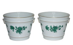 Pair of Hand Painted Porcelain Cachepots, Vienna 19th Century