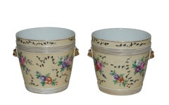 Pair of Paris Porcelain Cachepots with Hand Painted Flowers, French circa 1860