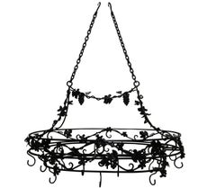 Large Wrought Iron Hanging Pot Rack with Grape Motif