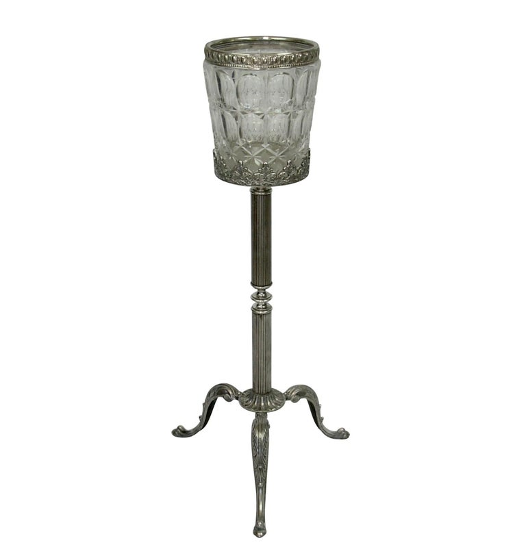Beautiful quality cut crystal champagne or wine cooler on silver-plate stand. Marked Italy on the bottom, early to mid-20th century.