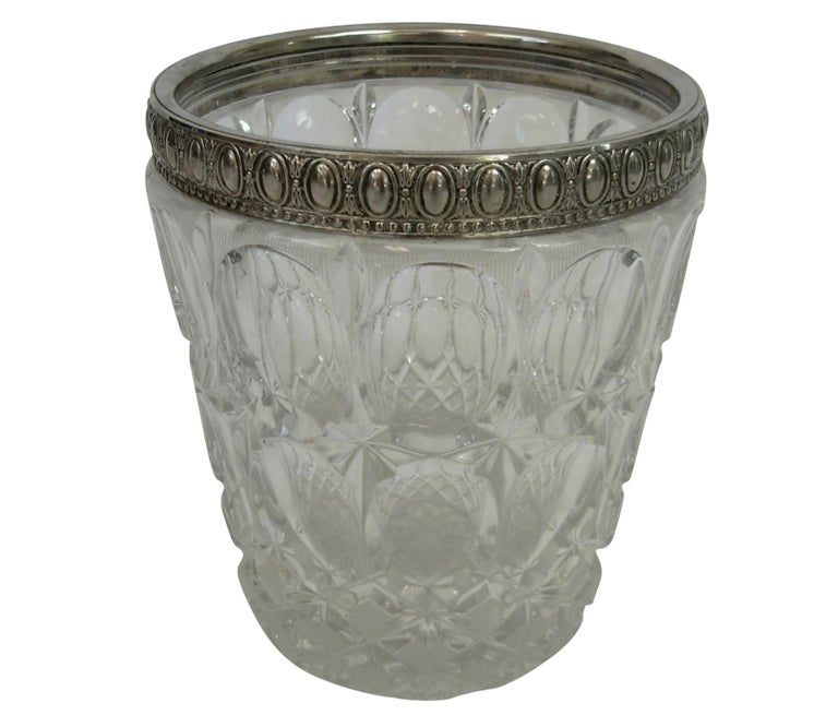 Italian Crystal and Silver Plate Champagne Wine Cooler on Stand For Sale 3