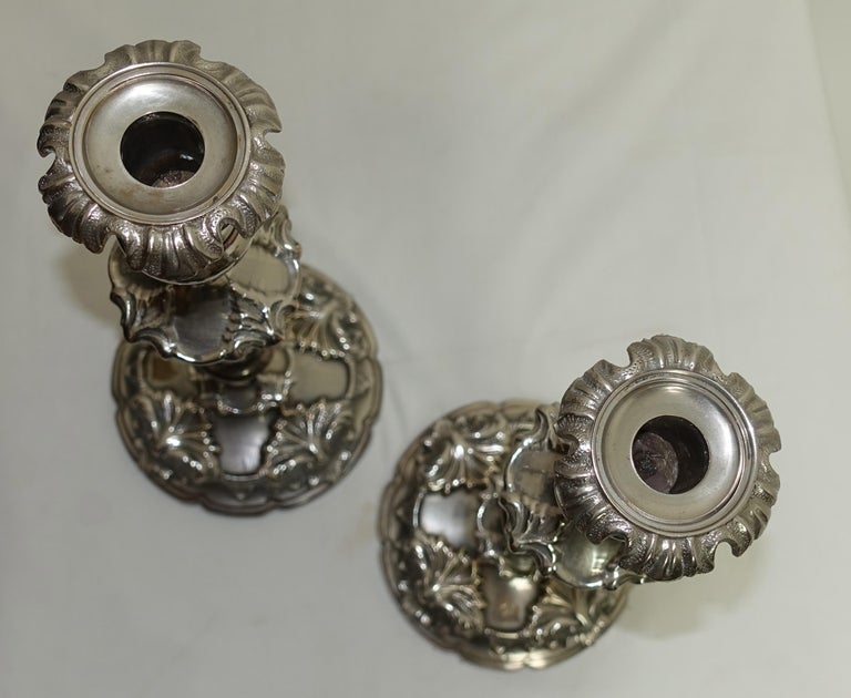 Pair of Large 19th Century Sheffield Silver Plate Candlesticks For Sale 3