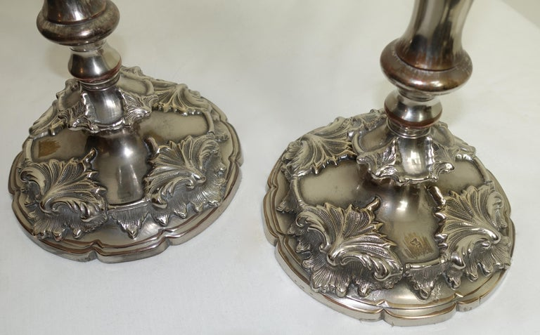 Sheffield Plate Pair of Large 19th Century Sheffield Silver Plate Candlesticks For Sale