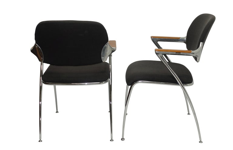 Inlay Pair of Thonet Aluminum and Chrome Armchairs, circa 1970s For Sale