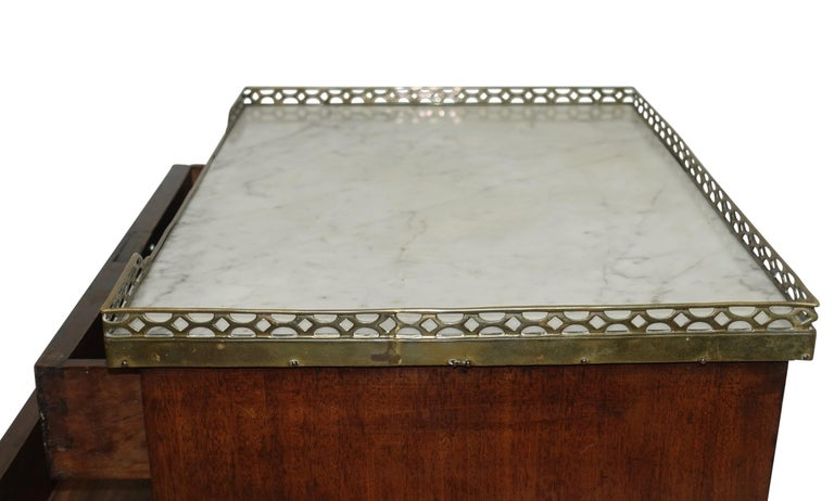 Mahogany Three Drawer Side Table with Marble Top, French 19th Century For Sale 1