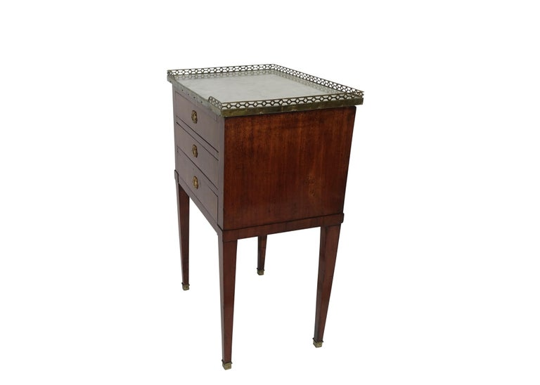Brass Mahogany Three Drawer Side Table with Marble Top, French 19th Century For Sale