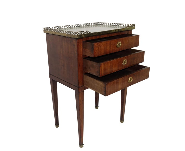 Louis XVI Mahogany Three Drawer Side Table with Marble Top, French 19th Century For Sale