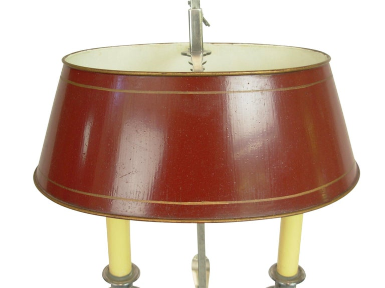 Silver-Plate Bouillotte Lamp with Red Tole Shade, Early 20th Century In Good Condition For Sale In San Francisco, CA