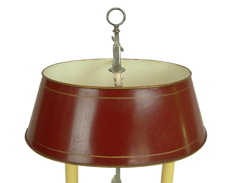 Silver-Plate Bouillotte Lamp with Red Tole Shade, Early 20th Century For Sale 3