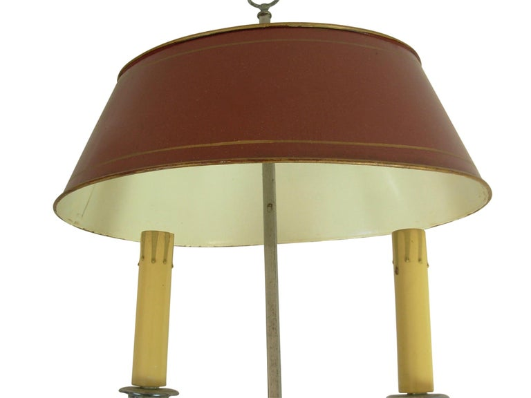 Silver-Plate Bouillotte Lamp with Red Tole Shade, Early 20th Century For Sale 4