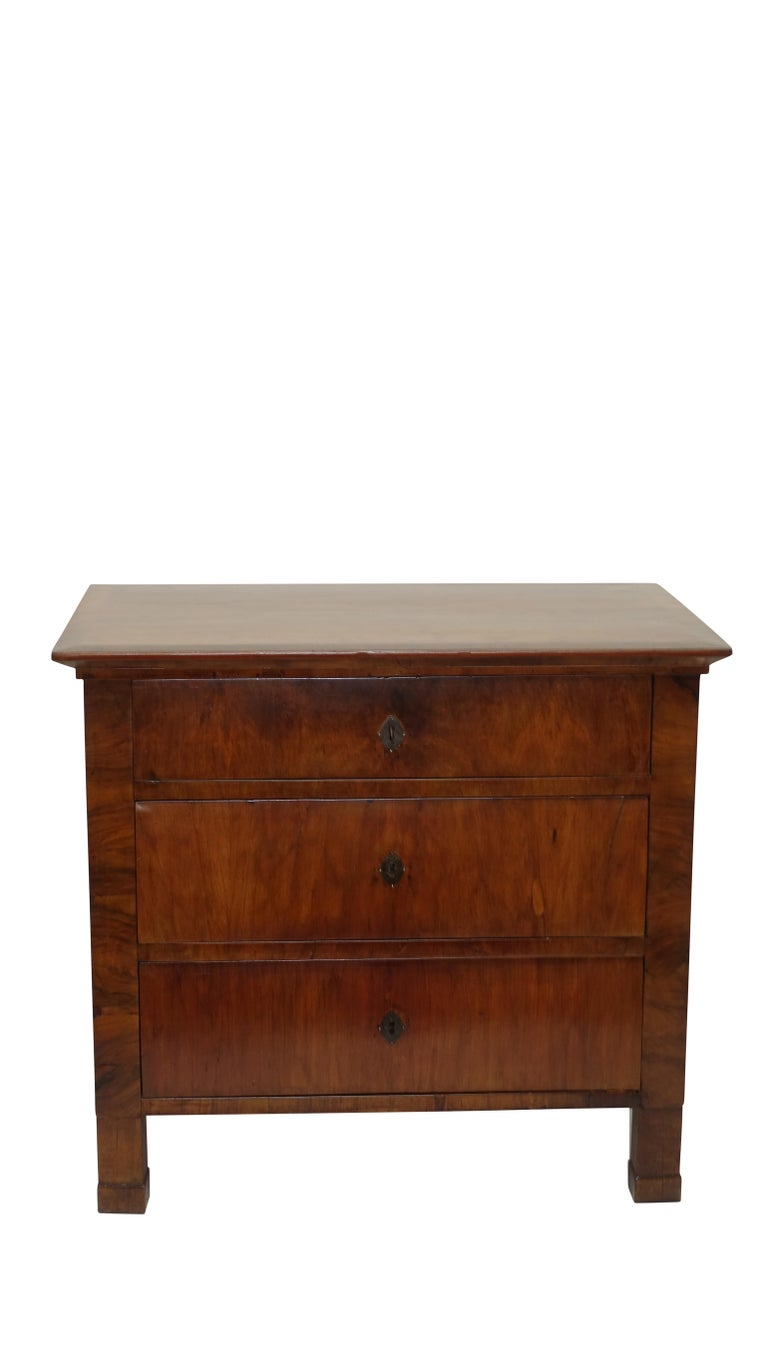 A  Biedermeier style walnut three-drawer commode standing on square block legs. Austria, mid-19th century.